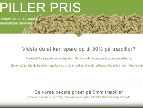 Hjemmeside til Træpiller prissammenligning